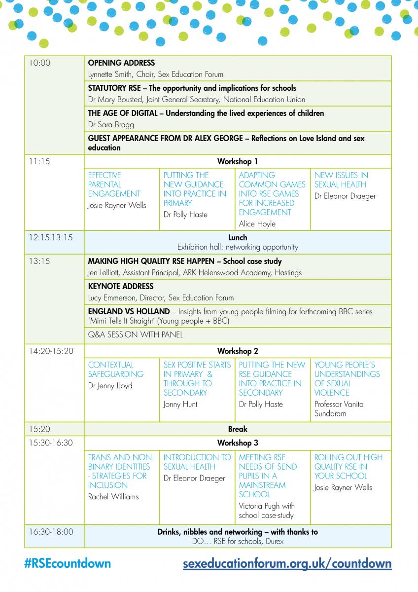 30 November 2018 - conference agenda released! | sexeducationforum